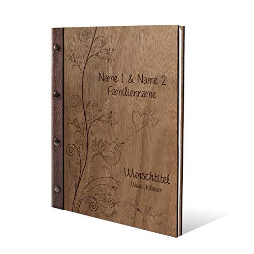 Stammbuch Okoume Holz Gravur individuell Holzcover mit Echtleder Rücken und Extras Stammbuchformat hoch 175 x 220 mm - Liebesbaum