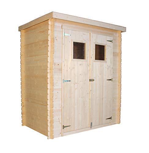 TIMBELA Holzhaus Gartenhaus M308+M308G - Gartenschuppen Holz mit Boden Imprägnierte B184xL128xH202 cm/ 1.81 m2 Lagerschuppen für Garten - Fahrrad Schuppen - Wasserfestes Dach