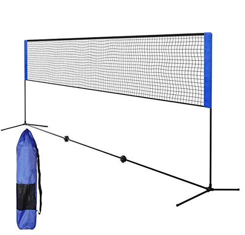 Portable Badminton Net with Poles, 5.1m Adjustable Folding Badminton Volleyball Tennis Net for Indoor...