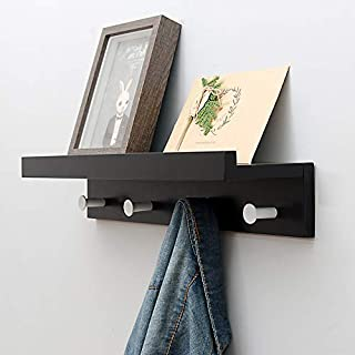 Wall Mounted Shelf Coat Hooks - Entryway Bamboo Shelf with Hooks Hanging Shelves with Hat Racks Wall Storage Shelf with Hooks Hanging Shelf with Holder for Bedroom,Kitchen, Bathroom,4 Hooks 19 inches
