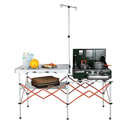 LZL Mesa Plegable Cocina móvil Multifuncional Cocina móvil Barbacoa Exterior Rack de Aluminio Ajustable Mesa de Picnic Plegable (Color : Silver)