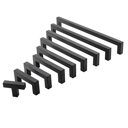 Mango de muebles Manija de gabinete negro Muebles cuadrados Hardware de acero inoxidable Puertas de cocina Puertas Armarios Dibujos de armario Manija de la puerta del gabinete del cajón de la cocina