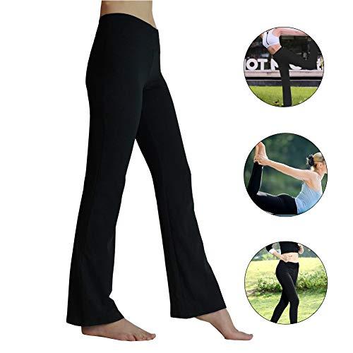 HETAIDA Damen Yogahose, Versteckten Taschen Sporthosen für Damen, Mittlhohe Taille Stilvolle Freizeitliche Joga Fitness Hose für Fitness, Outdoor-Sport und Als Alltagskleidung (Black, S)