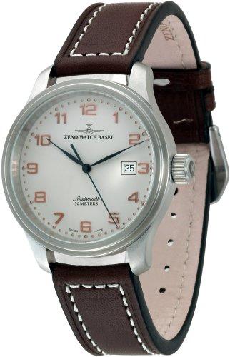 Zeno Watch Basel Pilot Classic 6554-f2 - Reloj de caballero automático con correa de piel marrón