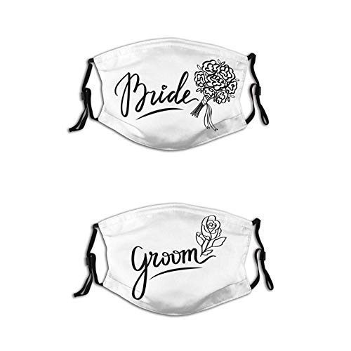 2 Pcs/Set Wedding Couple Face Masks,Bride and Groom Words,Reusable Balaclava for Couples_F.17