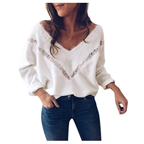 Sweatshirt Damen Kolylong® Frauen Elegant Polka Punkt Lange Ärmel Blusen Vintage Spitzenbluse Rüschen Langarm Oberteil Weißes Tunika Basic Shirt Hemd T-Shirt Pullover Tops (M, WeißS)