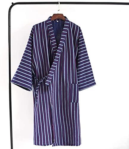 Badjas heren badjas Japans gestreepte badjas puur katoen badjas familie dragen casual slijtage badjas-Rode strepen_L Evolution