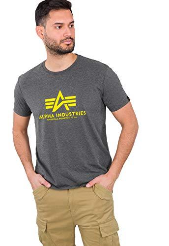 ALPHA INDUSTRIES Basic T-Shirt Camiseta, Gris, 4XL para Hombre
