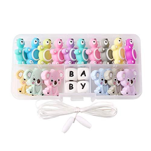 Mamimami Home Bambino Massaggiagengive in Silicone Mix di Perle di Tartaruga Geometriche Colorate a Forma di Koala Collana Braccialetto da Masticare Chiusura Staccabile Giocattoli per la Dentizione