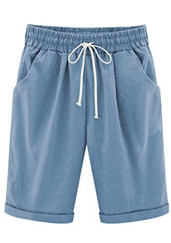 Elonglin Damen Bermuda Shorts Baumwolle Knielang Sommer Kurze Hose mit Tunnelzug Frauen Große Größen Locker Stretch Hell Blau DE XS(Asie M)