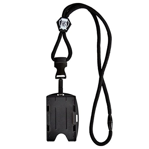Metal Detector Friendly Black Lanyard with Detachable Plastic Hook and 2-Card ID Badge Holder by Specialist ID