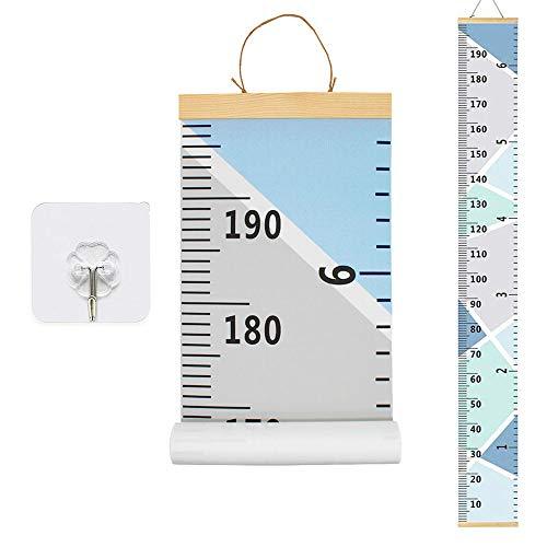 Messlatte Höhe Diagramm HUYU Messleiste Kinder Kinder Leinwand Wachstum Chart Wall Chart Wachstumsmesser, hängendes tragbares aufrollbares Baby Diagramm für Kinder im Kinderzimmer Dekor Blau 200x20cm