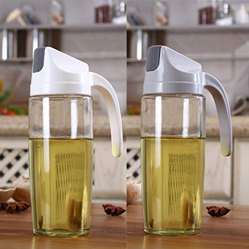 KyNaj 20 OZ set of 2 Olive Oil Dispenser Automatic Flip Cooking Oil Bottle for Kitchen Glass Cruet Bottle With Automatic Cap and Stopper Oil and Vinegar Dispenser Set KO-02C
