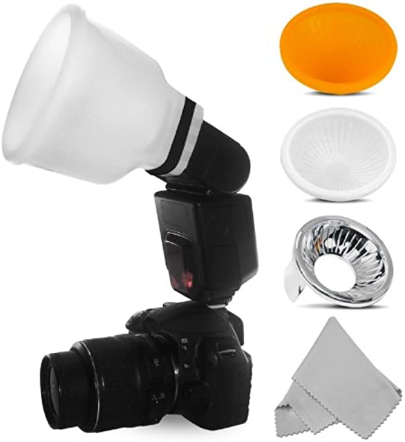 Difusor Universal de Flash Lambency Cloud + Kit 3 domos para Todos los Flashes. Gratis: un pañito óptico de Microfibra.