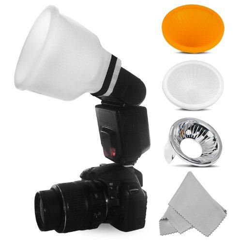 Difusor de flash Universal Lambency Cloud + Kit 3 cabezales para todas las luces de flash: Canon Speedlite, Nikon Speedlight, Yongnuo, Nissin, Sony, Metz, Pentax, etc, incluye: una gamuza de microfibra para las lentes.