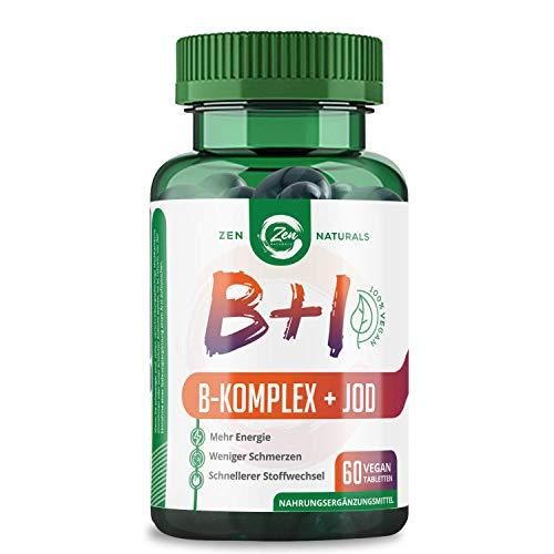 Vitamin B Komplex + Jod - Geeignet für Veganer – 60 Tabletten - alle 8 B-Vitamine mit B12, Biotin für das Haar, Folsäure (B9) und Jod aus Seetang – Laborgeprüft, 100% des Tagesbedarfs