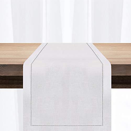 MingHing Camino de Mesa Rústico Elegante en 100% Lino, 40 cm x 137cm (Banco)