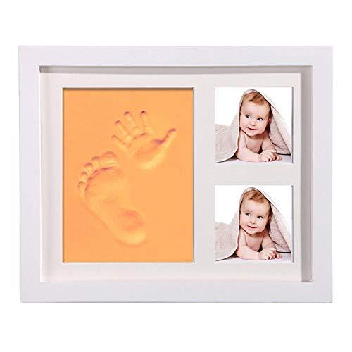 Baby Souvenir - Tinta de seguridad con marco decorativo de madera y cristal acrílico decorativo, recuerdo de la vida y regalos para los niños [saludable] naranja