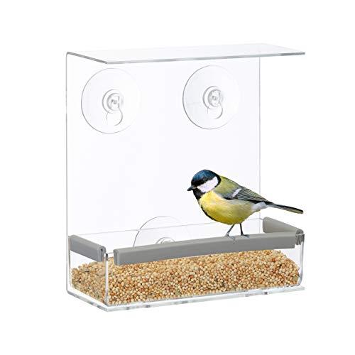 Relaxdays Vogelfutterhaus, Vogelfutterspender aus Acryl, Vogelhaus für Fensterscheibe, 16,5 x 15 x 7,5 cm, transparent