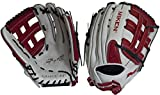 Miken Pro Series Slowpitch Softball Glove, 14 inch, White/Red, Right Hand Throw