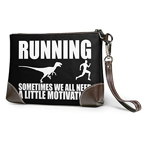 Hdadwy Courir parfois, nous avons tous besoin d'un peu de motivation femmes Portable doux en cuir véritable pochette bracelet petit sac classique grand portefeuille