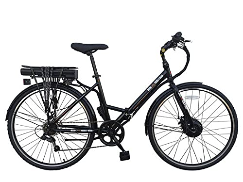Basis Hybrid Full Size Folding Electric Bike, 700c Wheel, 9.6Ah Battery - Black/Red