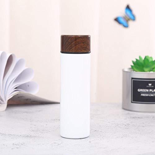 B/H Bottiglia d'acqua riutilizzabile,Mini Vaso de Agua de Bolsillo para petaca-Blanco,Bottiglia Doppia parete isolato a vuoto