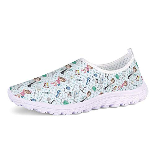 POLERO Nurse Zapatillas sin Cordones con Estampado de Enfermera para Mujer Zapatillas de Caminar Planas de Malla Transpirable Casual Zapatos de Trabajo livianos Senderismo Trotar, Talla 36-45