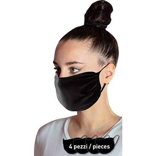 4-Teilige Unisex-Filtermaske, Light Version, Nasen Mundschutz, Antibakterielles Doppelschichtgewebe, Wiederverwendbar, Italien (Schwarz, Einheitsgröße)