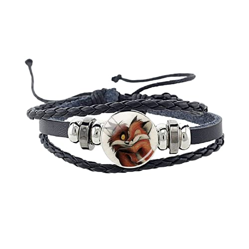 Nuevo lindo Fox pulsera de cristal animal imagen cabujón encanto negro pu cuero pulsera pulsera pulseras punk joyería regalo