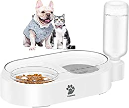 TOOOGO 2 in 1 Automatic Gravity Water Bowl & Food Bowl Set, Detachable No-Spill Pet Water Dispenser Bottle and Feeder Bowl for Small or Medium Size Dogs Cats