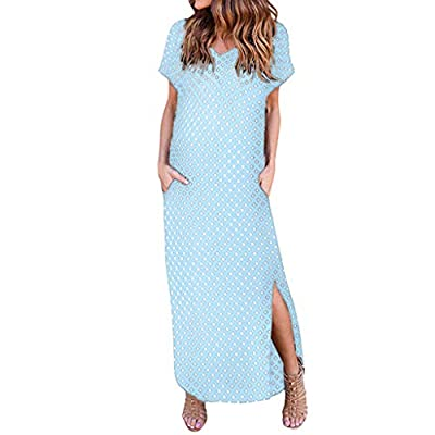 JustWin Sexy Deep V Neck Sling Bohemian Dress Women Casual Summer Boho Short Sleeve Printed Long Maxi Dress