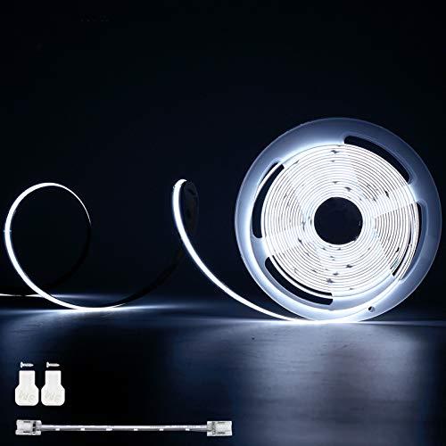 Tira de luces LED COB Daylight White 6500K, PAUTIX 6M Cinta LED flexible súper brillante, DC24V para dormitorio, cocina con 1 cable de extensión de conector (fuente de alimentación no incluida)