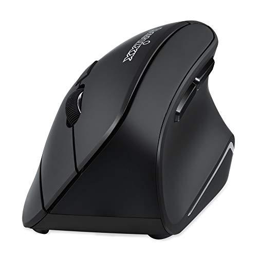 Perixx PERIMICE-804 - Mouse ergonomico Bluetooth per Windows, Android Tablet e PC, destrimani, colore: Nero