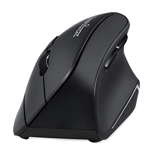 Perixx PERIMICE-804 Bluetooth Vertical Mouse, Bluetooth Connection for Windows and Android System, Works Without USB Receiver, Black