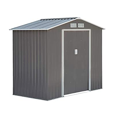 Outsunny 4' x 7' Outdoor Metal Garden Shed Utility Tool Storage, Steel Backyard House with Sliding Door, Grey and White