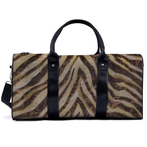 Sports Gym Bag,Metallic Zebra Animal Print Bronze Gold Copper Tan Handbag Yoga Bag Shoulder Tote Weekend Bag Travel Holdall Duffel Bag for Adult Men Women