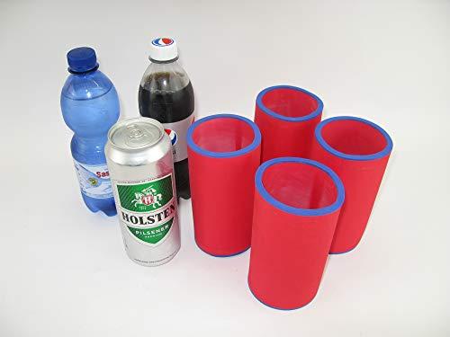 asiahouse24 4er Set Getränkekühler 0,5l Dose - Bierkühler - Neoprenkühler - passgenau ~Dosenkühler~ für alle genormten 0,5l Bierdosen aus hochwertigen 5-6mm starken Neopren (rot)