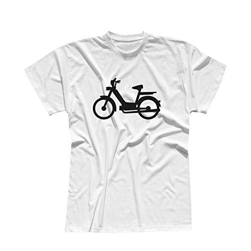 T-Shirt Mofa Herkules Simson Vespa Roller Motorroller 13 Farben Herren XS-5XL Töffli Scooter Moped Lambretta Mokick-Roller Cityflitzer, Größe:XL, Farbe:Weiss - Logo schwarz