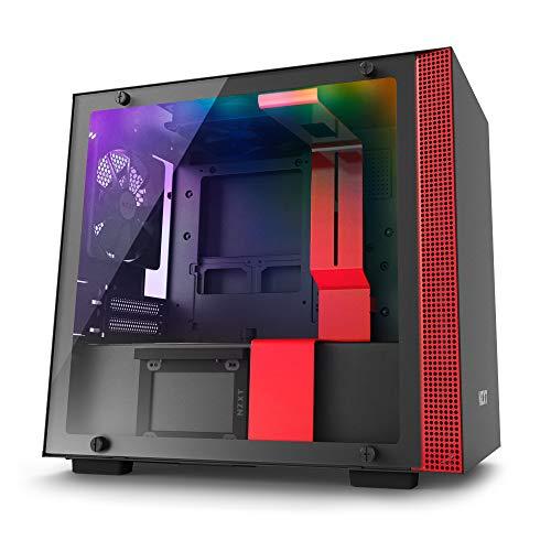 NZXT H200i - Caja de PC Gaming Mini-ITX - Panel de vidrio templado - Preparado para refrigeración líquida - Negro/Rojo - Versión 2018