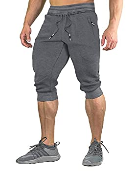 FASKUNOIE Jogger 3 4 for Men Capri Joggers Active Sports Trousers Gym Shorts with Zipper Pockets Light Gray
