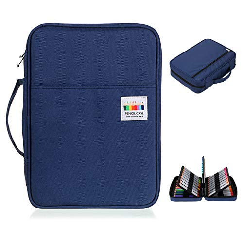 BTSKY Colored Pencil Case 220 Slots Pen Pencil Bag Organizer with Handy Wrap Portable- Multilayer Holder for Prismacolor Crayola Colored Pencils & Gel Pen Dark Blue