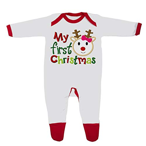 'My First Christmas' Baby Boy Girl Sleepsuit Made in the UK Using 100% Fine Combed Cotton (3-6 Months, White/Red Trim)