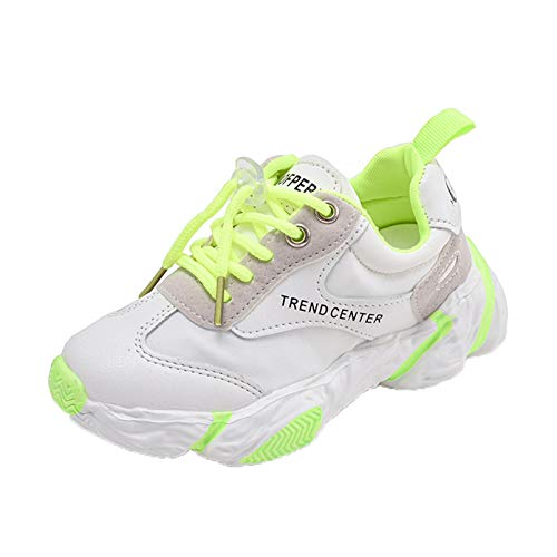 Calzado Deportivo para niños Primavera y otoño cómodos Zapatos Casuales Transpirables de Malla de Cuero Antideslizantes Zapatos para Correr Ligeros con Cordones y Fondo Plano