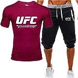 Camiseta Estampada Camisetas Y Pantalones Cortos De Verano, UFC Impreso MMA Fitness Sportness Traje, Regalos para Fanáticos (Size : Small)
