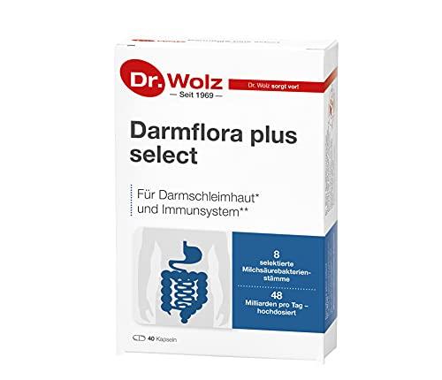Darmflora plus select Dr. Wolz | hochdosierte Bakterienkulturen 48 Mrd/Tag | Vitamin B6 und B12, unterstützt gesunde Schleimhäute | 8 Milchsäurebakterien | Vegan | 40 Kapseln