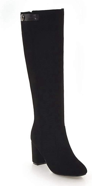Women's Knee High Heel Slouchy Boots Side Zipper Faux Suede Winter Flat Casual Dress Boot Long Boots