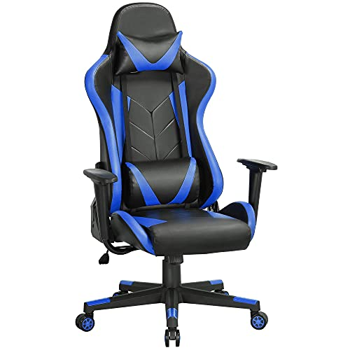 YAHEETECH Functional Video Game Chairs Managerial Executive Chair Computer Gaming Chair with Lumbar Support Swivel Task Chair Black/Blue