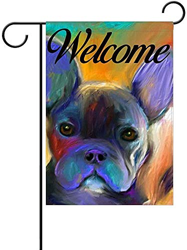 Fornate French Bulldog Welcome Garden Flag, Custom Holiday Celebrate Garden Decor Flag,12'x18' Polyester Double Sided