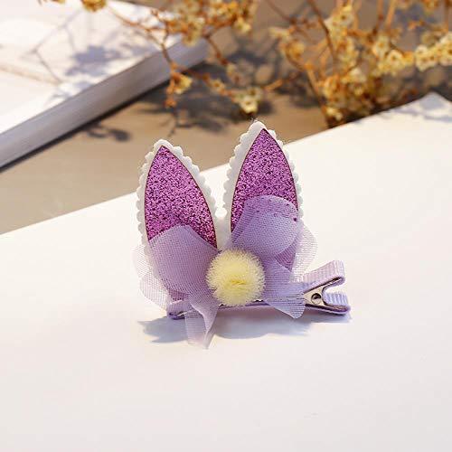 Orecchino a forma di gatto con forcina per bambina con diadema e gioielleria per capelli, maglia viola 1